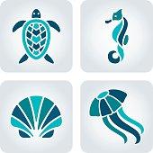 Sea animals mosaic icons