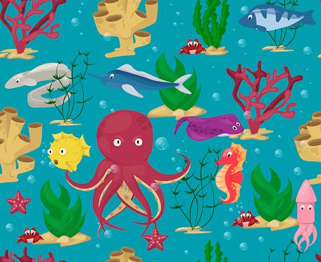 meeres tiere musterdesign hintergrund vektor wasser pflanzen ozean fisch cartoon illustration