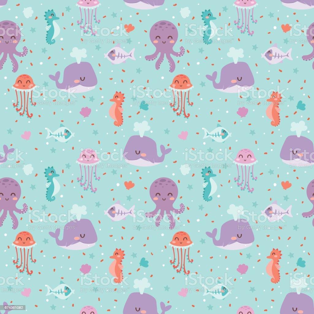 Sea animals seamless pattern fish corals starfish shells jellyfish aquarium colorful vector illustration vector art illustration