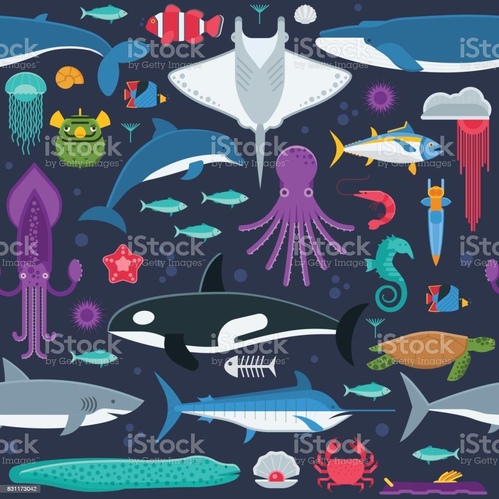 Sea Animals Seamless Pattern vector art illustration
