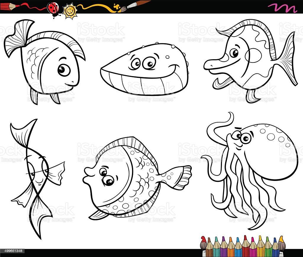 Ilustración de Mar Conjunto De Animales Para Colorear Página y más ...