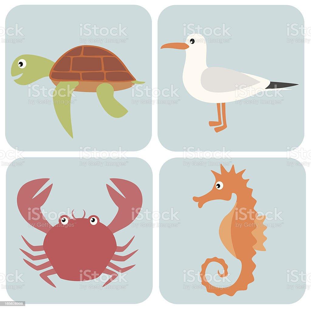 Sea animals set vector art illustration