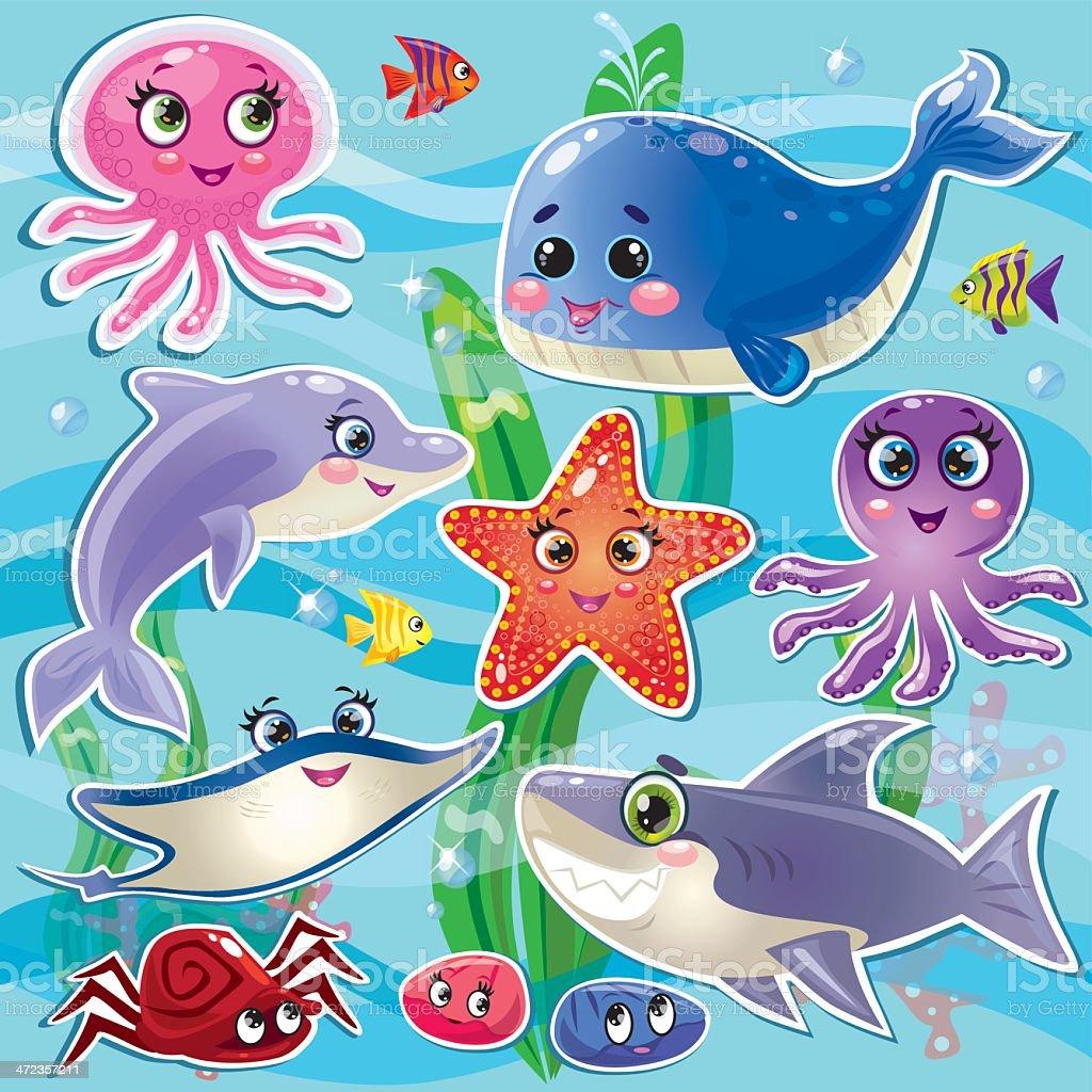 sea animals set royalty-free stock vector art