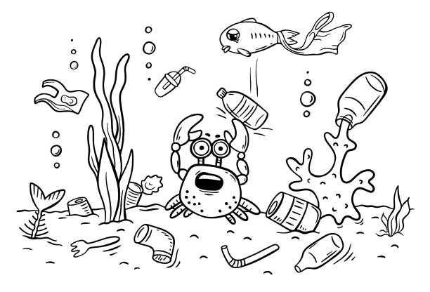 Sea animals suffer from ocean pollution with plastics, ecology and environment concept, coloring page vector art illustration