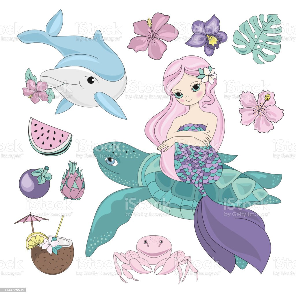 Princess Sea Animals Underwater Cartoon Ocean Summer Tropical Travel...