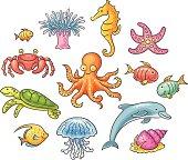 A set of cartoon sea animals, no gradients.