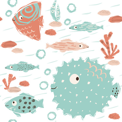 Sea baby cute seamless pattern. Sweet fish and fugue, algae, corals print