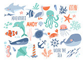 Sea background - cute sea and ocean animals whale, narwhal, ship, lighthouse, anchor, marine plants, wreaths and quotes.