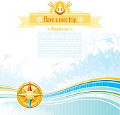 Sea background in blue colors with net, foam, and seagulls and compass. Copyspace for your text