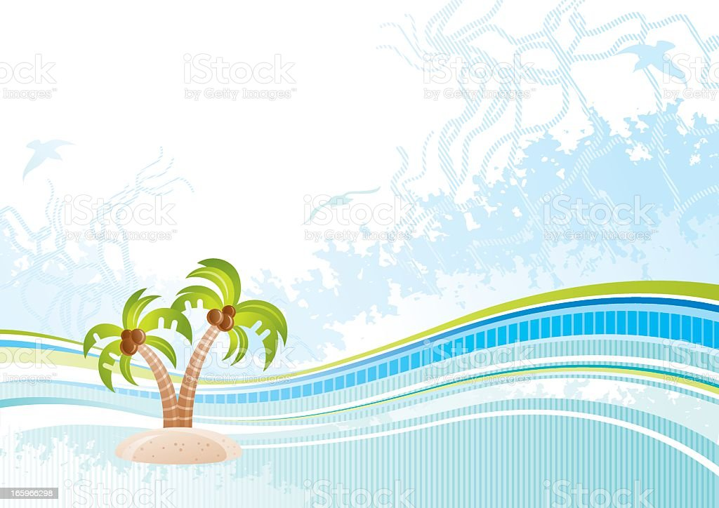 Sea background with net and seagulls: palms royalty-free stock vector art