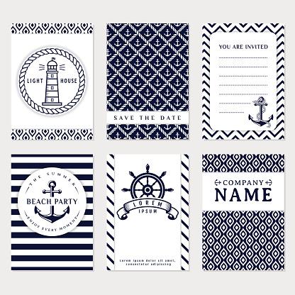 Sea banners. Vector card templates.