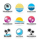 Sea beach and palm trees. Logo design