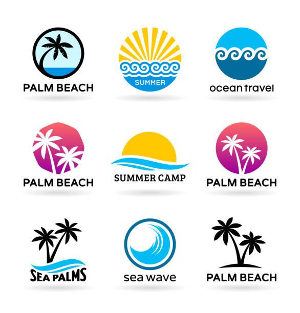 bildbanksillustrationer, clip art samt tecknat material och ikoner med havet stranden och palm träd. logotypdesign - ö