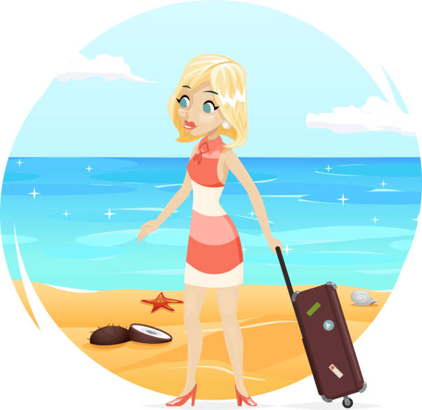 Vintage Beach Background Stock Photo 112981333: Royalty Free Suitcase Packing Cartoon Women Clip Art