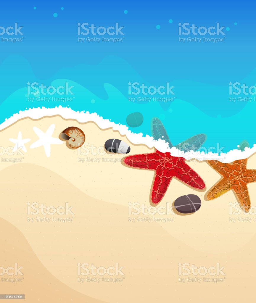Sea beach with starfishes royalty-free stock vector art