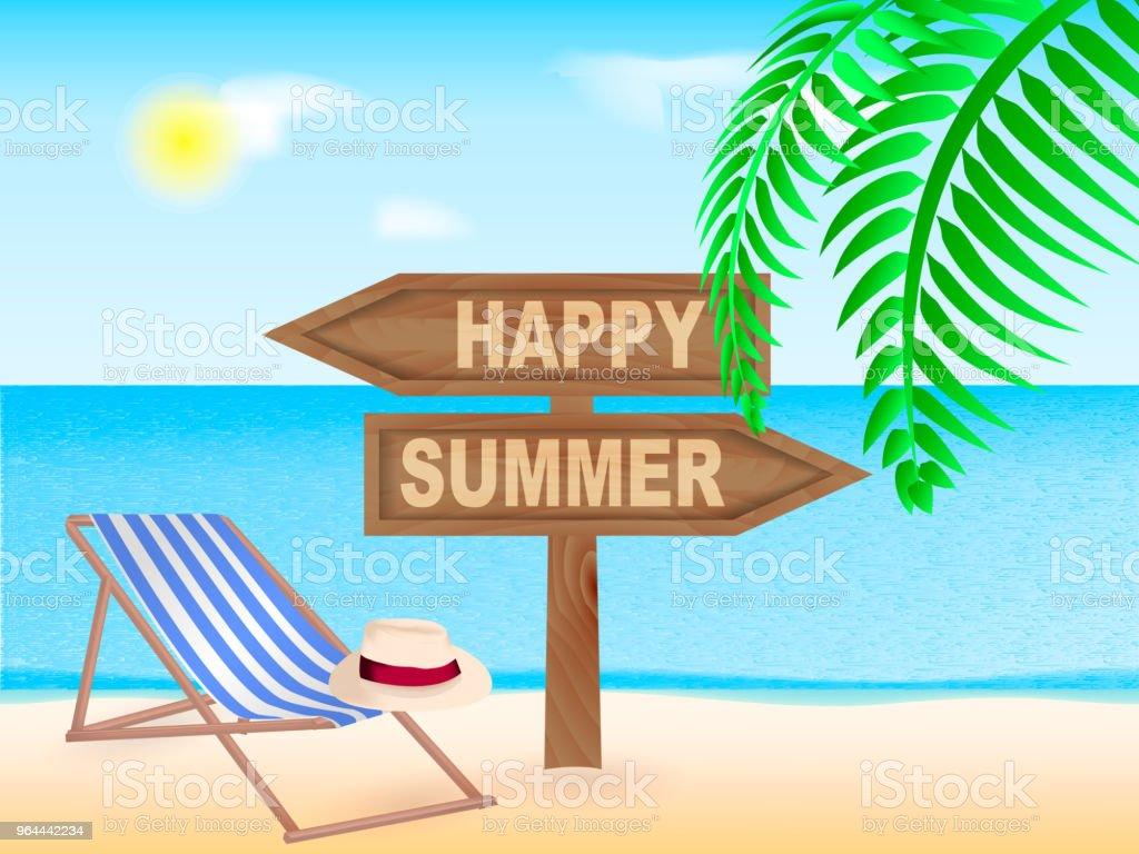 Zee strand. Houten aanwijzer Happy Summer. Vectorillustratie - Royalty-free Aankomst vectorkunst