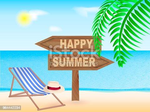 Sea beach. Wooden pointer Happy Summer. Vector illustration
