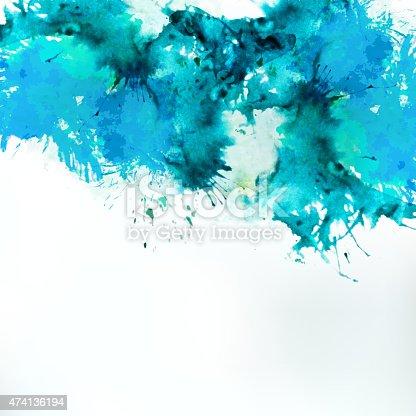 istock Sea blue centered decorative watercolor background 474136194