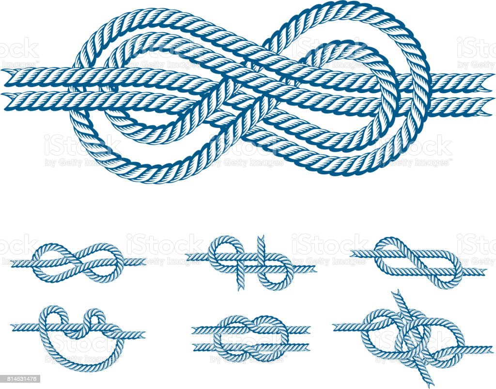 Sea Boat Rope Knots Vector Illustration Isolated Marine Navy Cable ...