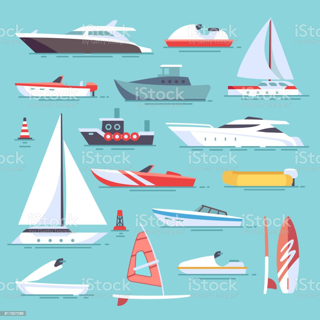 Sea boats and little fishing ships. Sailboats flat vector icons - illustrazione arte vettoriale