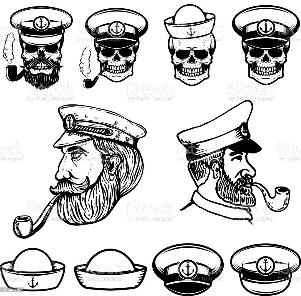 Sea captain illustrations. Skulls in sailor hats. Design elements for label, emblem, sign. Vector illustration