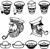 Sea captain illustrations. Skulls in sailor hats. Design elements for label, emblem, sign. Vector illustration
