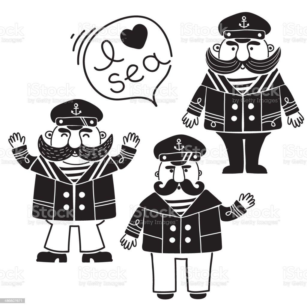 Sea Captain vector art illustration