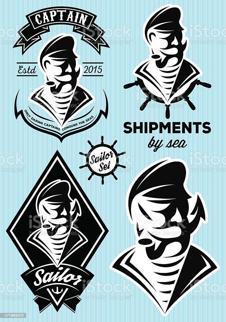 sea captain with a mustache for design vector art illustration