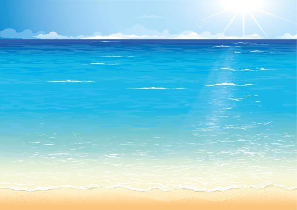 Sea card vector art illustration