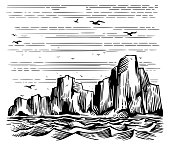 Seascape cliffs on the shore and seagulls in the sky. Vector Imitation of engraving. Scratch board style hand drawn sketch image.