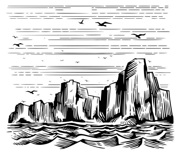 Sea cliffs and seagulls landscape Seascape cliffs on the shore and seagulls in the sky. Vector Imitation of engraving. Scratch board style hand drawn sketch image. cliffs stock illustrations