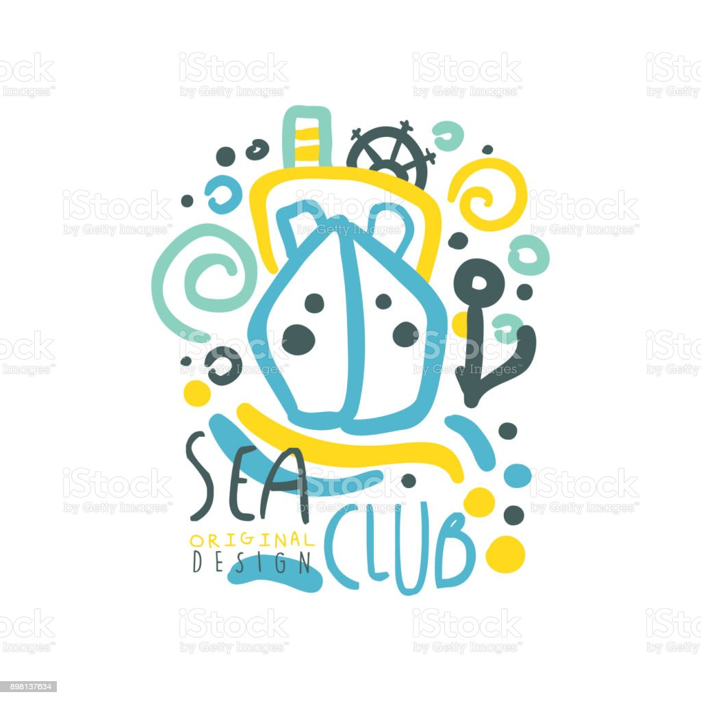 Sea Club Symbol Design With Ship Or Yacht Floating On Abstract Waves