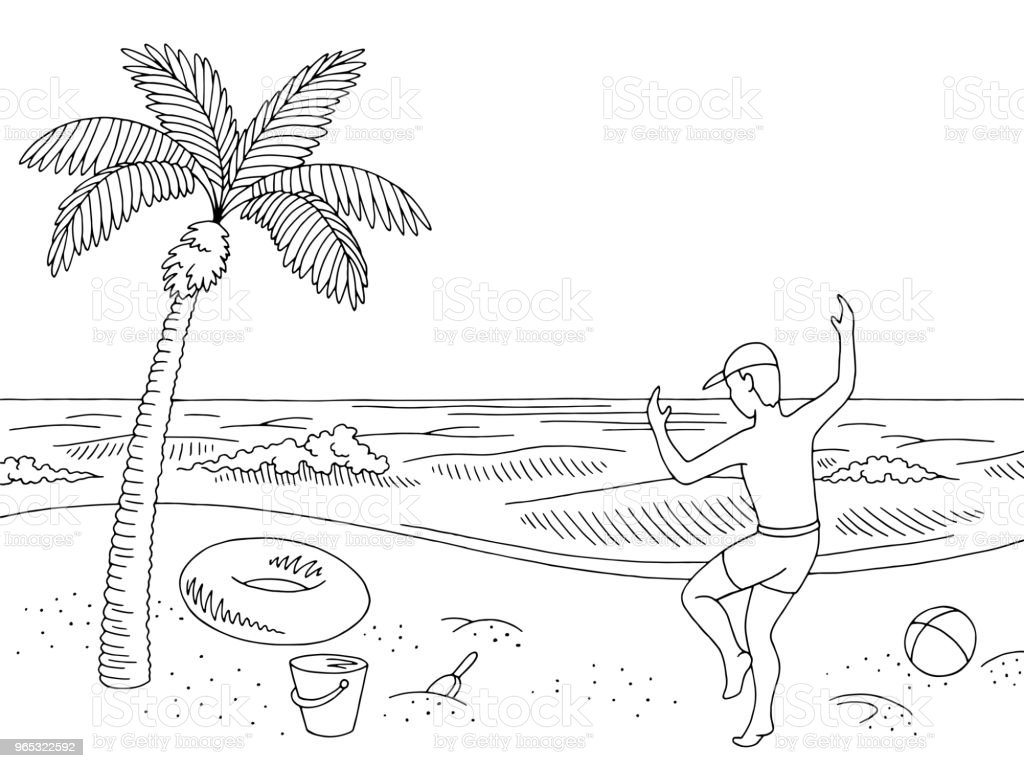 Sea coast beach graphic black white landscape happy jumping boy sketch illustration vector royalty-free sea coast beach graphic black white landscape happy jumping boy sketch illustration vector stock vector art & more images of ball