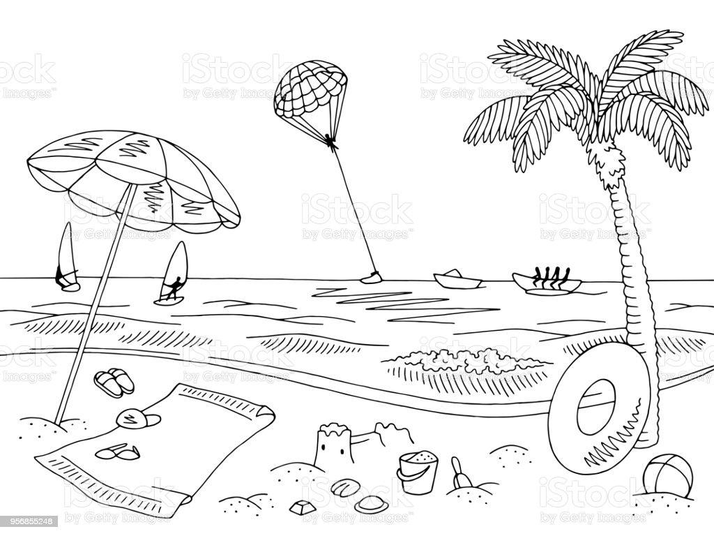 Meer Küste Strand Grafik Schwarz Weiße Landschaft Skizze Abbildung
