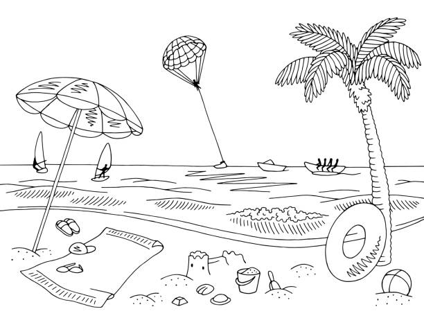 Top 60 Cartoon Of Black White Beach Clip Art Vector Graphics And