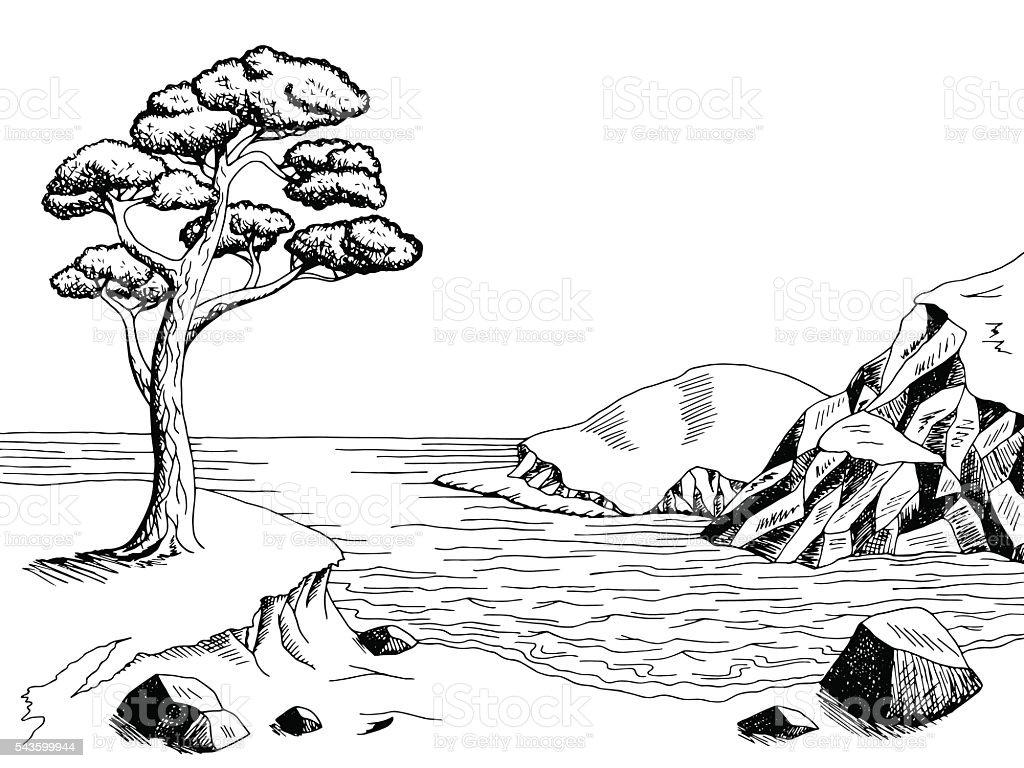 Sea Coast Graphic Art Pine Black White Landscape ...