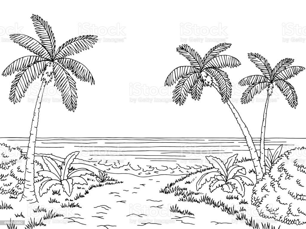Sea Coast Graphic Black White Landscape Sketch ...
