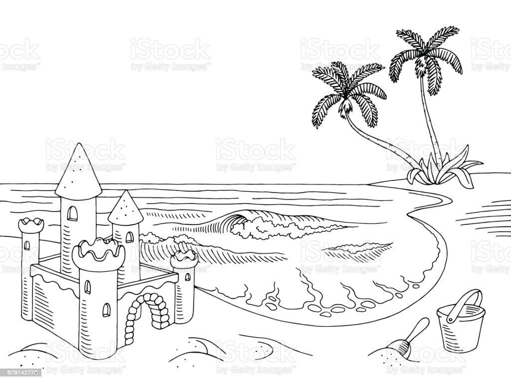Sea Coast Graphic Sand Castle Black White Landscape Sketch ...