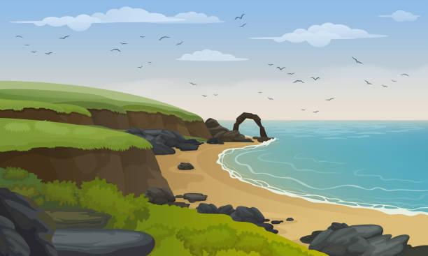tło wektorowe krajobrazu wybrzeża morskiego. piaszczysta plaża ze skałami i klifami. - klif stock illustrations