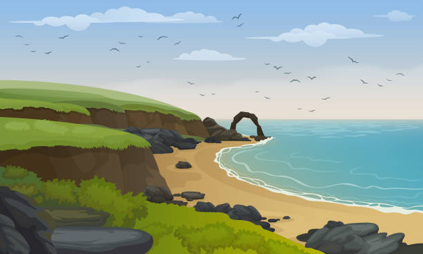 Sea coast landscape vector background. Sandy beach with rocks and cliffs. Scotland's coastline. cliff stock illustrations
