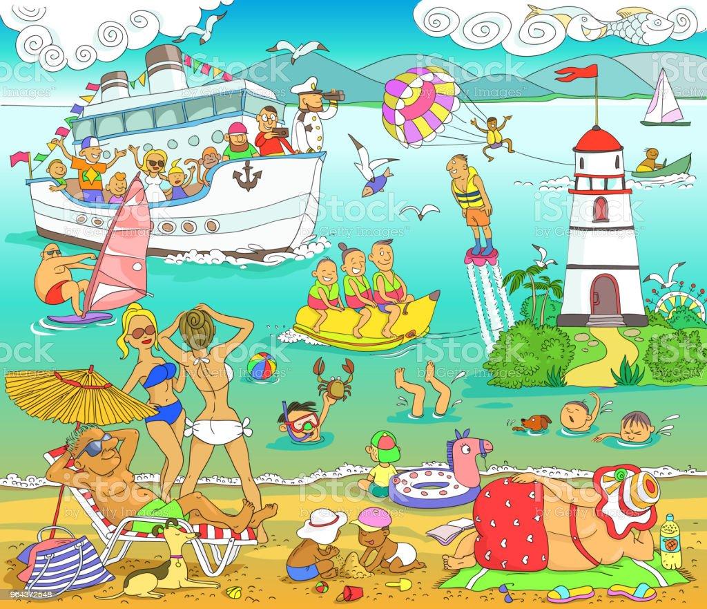Costa do Mar - Vetor de Adolescente royalty-free
