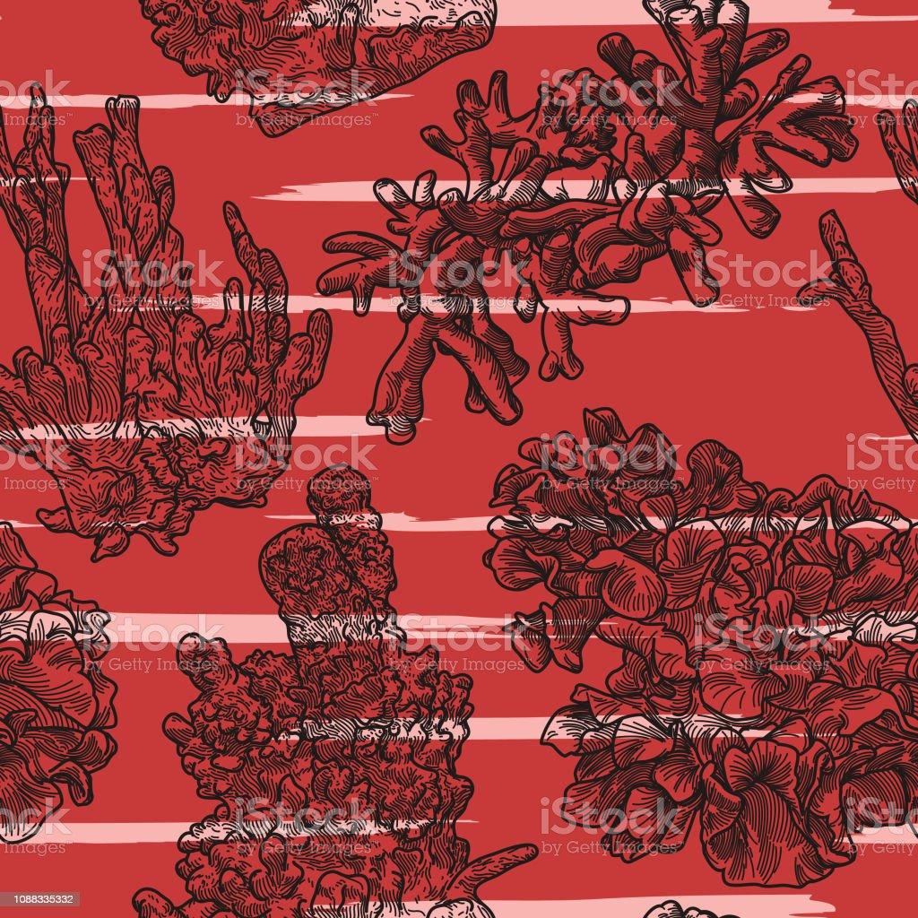 Sea Coral Line Artwork Seamless Pattern vector art illustration