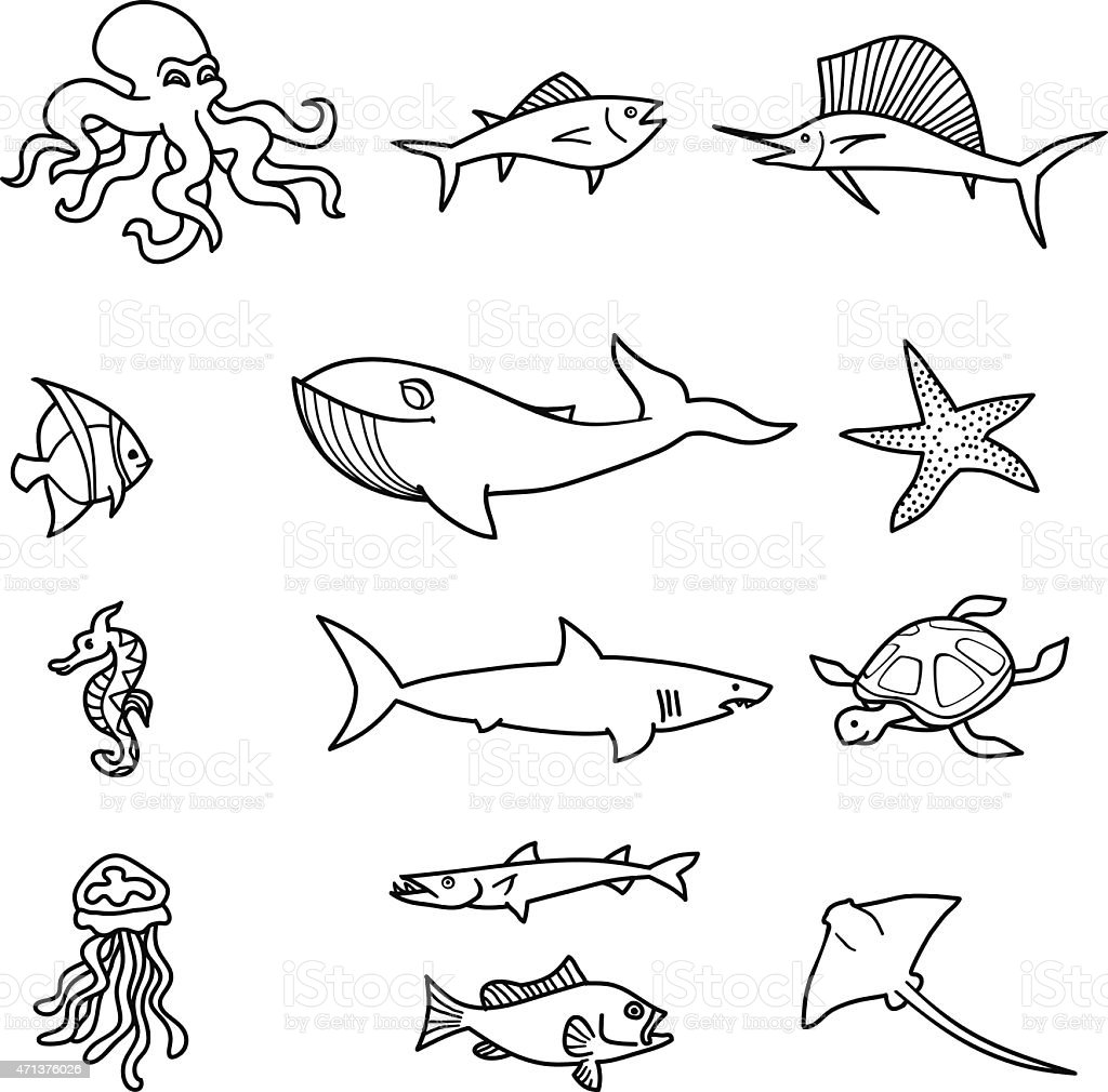 Sea Creature Doodles vector art illustration