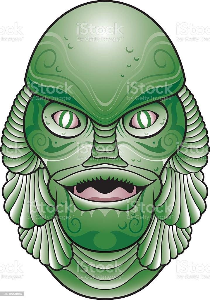 Sea creature head vector art illustration