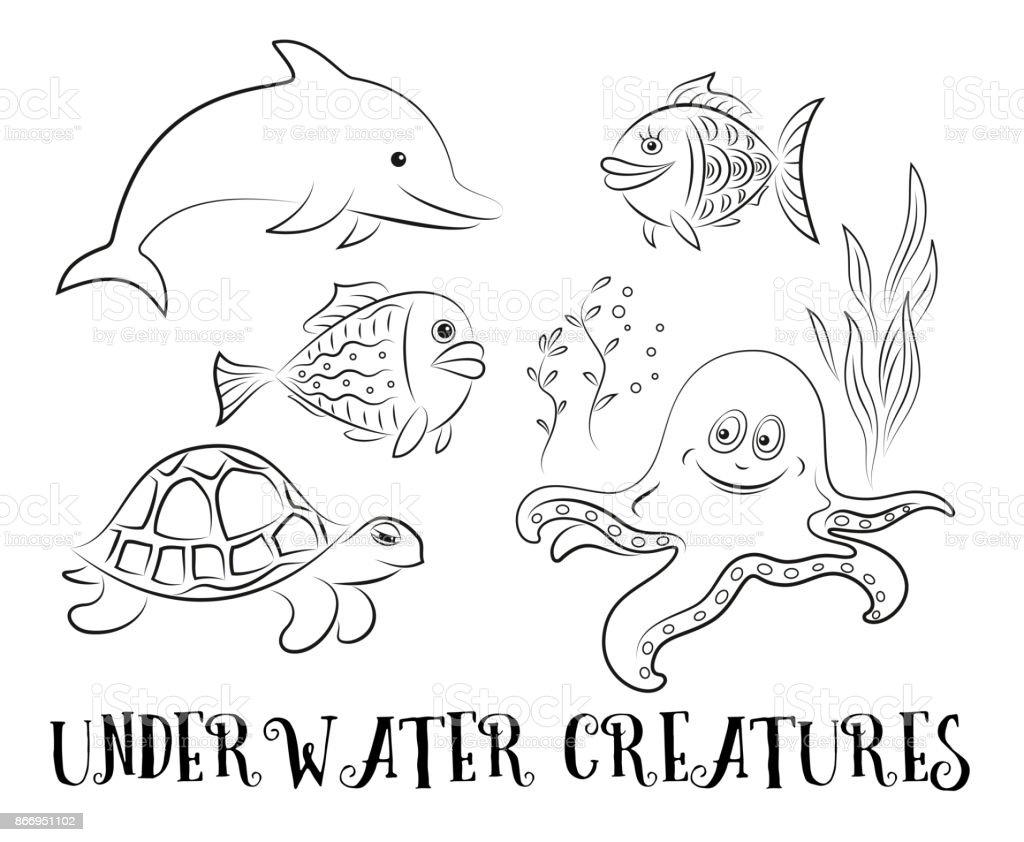 Ilustración de Contornos De Criaturas De Mar y más banco de imágenes ...