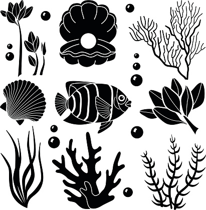 sea creatures design elements