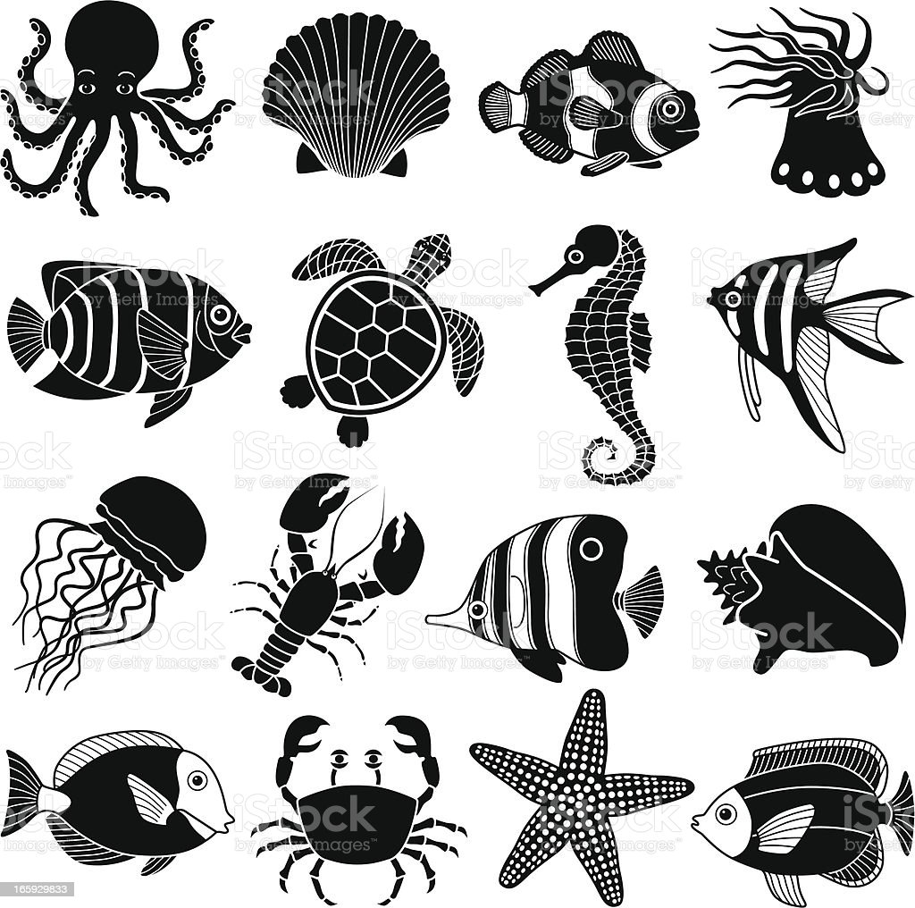 sea creatures icons vector art illustration