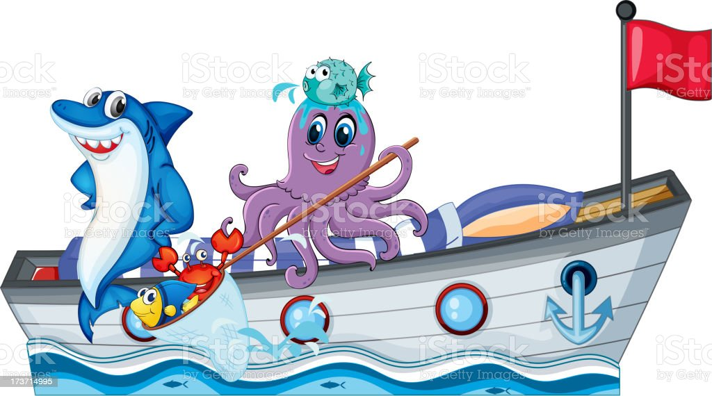 Sea creatures riding on a boat with flag royalty-free stock vector art