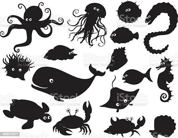 Sea creatures silhouettes vector id483078377?b=1&k=6&m=483078377&s=612x612&h=lutweyygpghsyfr81mdhk4cfeuvsuzt0x a2i9i12ey=