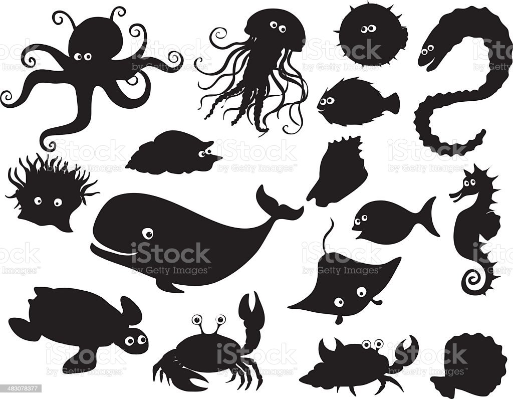 Sea creatures silhouettes vector art illustration